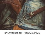 detail of nice blue jeans with... | Shutterstock . vector #450282427