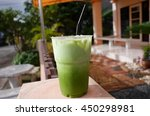 milk green tea in cup and ice... | Shutterstock . vector #450298981