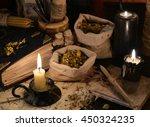 close up of healing herbs ... | Shutterstock . vector #450324235