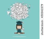 girl graduated pupils swinging... | Shutterstock .eps vector #450342379