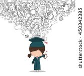 girl graduated pupils back of... | Shutterstock .eps vector #450342385