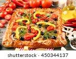 freshly homemade pizza closeup | Shutterstock . vector #450344137