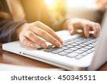 close up business woman hand... | Shutterstock . vector #450345511