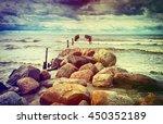 old broken pier at the gulf of... | Shutterstock . vector #450352189