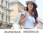 young beautiful woman with...   Shutterstock . vector #450354115