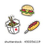 set of various food patch... | Shutterstock .eps vector #450356119
