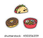 set of various food patch... | Shutterstock .eps vector #450356359
