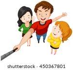 group of people taking selfie... | Shutterstock .eps vector #450367801