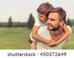 cute little boy and his... | Shutterstock . vector #450372649