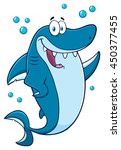 happy blue shark cartoon mascot ... | Shutterstock . vector #450377455