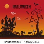halloween illustration with a... | Shutterstock .eps vector #450390511