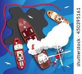 the fire on the ship. oil spill....   Shutterstock .eps vector #450395161