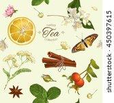 vector herbal tea seamless... | Shutterstock .eps vector #450397615