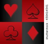 four card suits hearts spade... | Shutterstock .eps vector #450414541