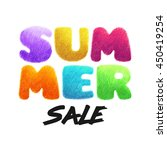 summer crayon poster. seasonal... | Shutterstock . vector #450419254