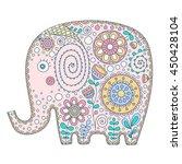 hand drawn cartoon elephant... | Shutterstock .eps vector #450428104