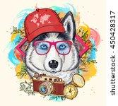 husky hipster art print hand...   Shutterstock .eps vector #450428317
