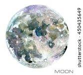 moon watercolor illustration.  | Shutterstock . vector #450435649