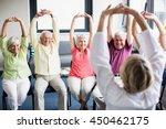 seniors doing exercises in a... | Shutterstock . vector #450462175