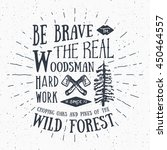 lumberjack vintage label with... | Shutterstock . vector #450464557