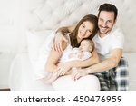 happy family with newborn baby... | Shutterstock . vector #450476959