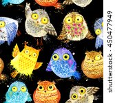 Cute Owl. Seamless Pattern Wit...