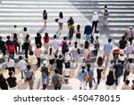 asian people are across the... | Shutterstock . vector #450478015