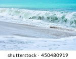 an ocean shorebreak in front... | Shutterstock . vector #450480919