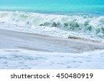 an ocean shorebreak in front...   Shutterstock . vector #450480919