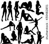 vector  isolated set of girl... | Shutterstock .eps vector #450482851
