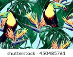 toucan  exotic birds  tropical... | Shutterstock .eps vector #450485761