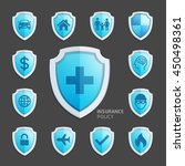 insurance policy blue shield... | Shutterstock .eps vector #450498361