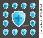 Insurance policy blue shield icon design. Vector Illustrations. - stock vector