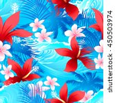 tropical red hibiscus flowers... | Shutterstock .eps vector #450503974