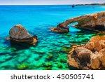 Beautiful natural rock arch near of Ayia Napa, Cavo Greco and Protaras on Cyprus island, Mediterranean Sea. Legendary bridge lovers. Amazing blue green sea and sunny day.