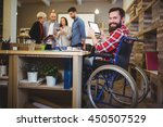 portrait of happy disabled... | Shutterstock . vector #450507529