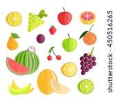 set of fruits vectors. flat... | Shutterstock .eps vector #450516265