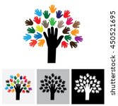 human hand   tree icon with... | Shutterstock .eps vector #450521695