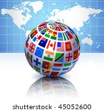 Flags Globe With World Map...