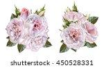 set. bouquet of flowers. rosa... | Shutterstock . vector #450528331