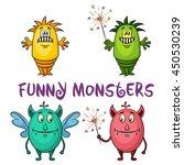 set of cute different cartoon... | Shutterstock . vector #450530239