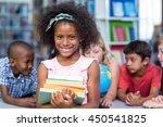 portrait of smiling girl... | Shutterstock . vector #450541825