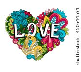 doodle floral heart with love... | Shutterstock .eps vector #450544591