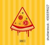 pizza flat icons isolated on...