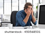 portrait of an upset... | Shutterstock . vector #450568531
