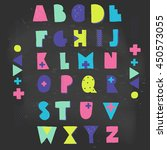 hand crafted alphabet.... | Shutterstock .eps vector #450573055