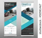 blue roll up business banner... | Shutterstock .eps vector #450581467