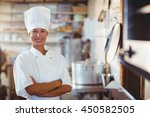 portrait of happy chef standing ... | Shutterstock . vector #450582505