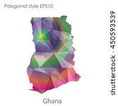 ghana map in geometric... | Shutterstock .eps vector #450593539