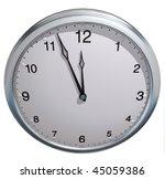 3d Clock On The Plain Color...